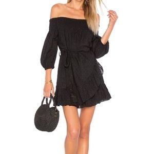 Tularosa Maida Ruffle Black Sparkle Dress Large
